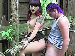 Naughty Kelly fucked in the woods