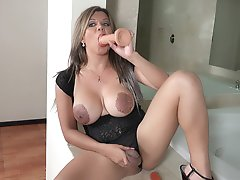 TS Naomi Chi putting TWO DILDOS everywhere