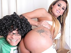Watch beautiful transsexual Juliana Souza get her day saved then get stuffed by the Super Ramon!