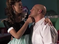 A lucky bastard diner client gets a special dish of hot fucking and sucking from Venus Lux