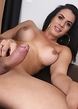 Wendy's hot friend Stella Duarte shows you how to stroker her cock and pleasure her ass right