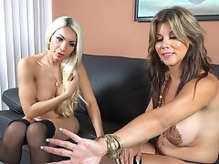 Busty shemale NAOMI CHI gets anally impalled by her blonde girlfriend