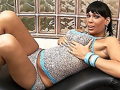 Alluring transsexual Marcella playing with herself