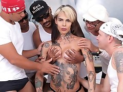 Today we have the sexy tattooed Gaby Ink making a comeback with a hardcore ass-stuffing gangbang. This girl gets her ass simply stuffed and fucked!