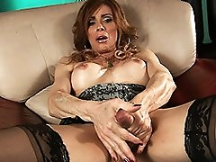 Super hot transsexual MILF playing with her dick & ass
