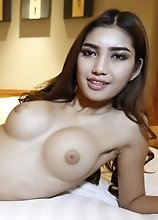 20 year old horny Thai ladyboy with big tits gets a face full of tourist cum