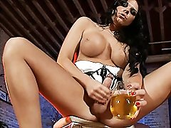 Hot Ashley George jerking off on a glass of pee